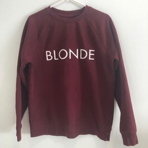 Brunette The Label Burgundy Blonde Pullover Sz M/L